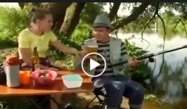 Приколы на рыбалке. Про мужа и жену.
