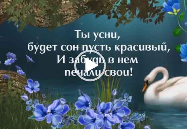 Спокойно ночи. Добрых снов. Открытка с пожеланиями. Смотреть видео пожелания.